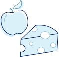 Apple and cheese icon indicating loss of appetite as an RA symptom