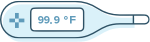 Thermometer icon indicating fevers as an RA symptom